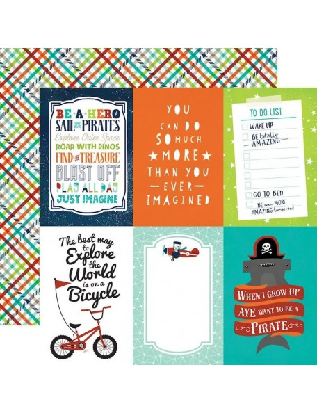 "Echo Park Imagine That Boy Cardstock de doble cara 12""X12"", 4X6 Journaling Cards"