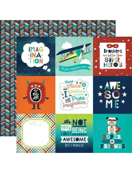 "Echo Park Little Man Cardstock de doble cara 12""X12"", Icons"