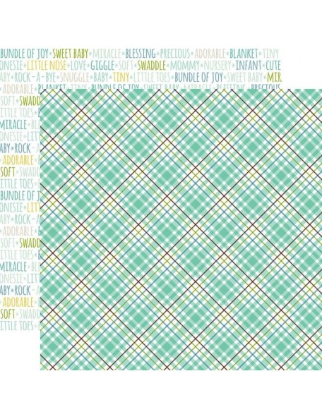 "Echo Park Sweet Baby Boy Cardstock de doble cara 12""X12"", Sweet Boy Plaid, Words/Green Plaid"