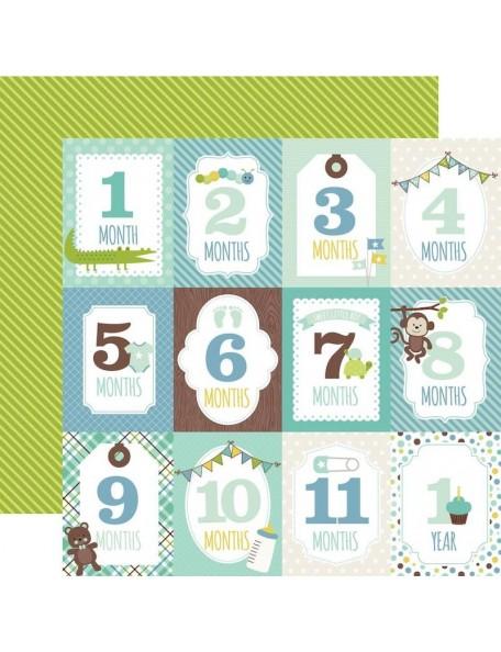 "Echo Park Sweet Baby Boy Cardstock de doble cara 12""X12"", Month Cards/Green & Yellow Stripes"