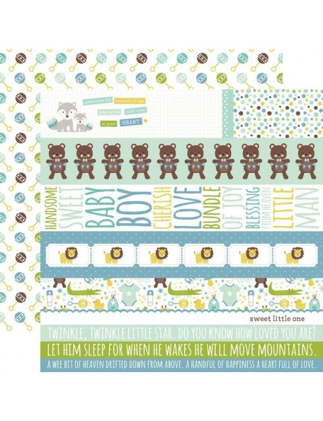 "Echo Park Sweet Baby Boy Cardstock de doble cara 12""X12"",Border Strips/Rattles"