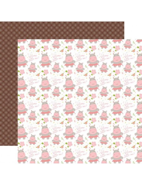 "Echo Park Sweet Baby Girl Cardstock de doble cara 12""X12"", Welcome Little One, Hippos/Brown Dots"