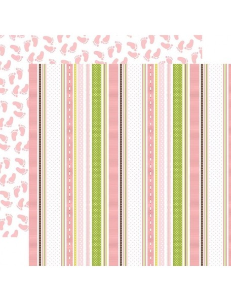 "Echo Park Sweet Baby Girl Cardstock de doble cara 12""X12"", Baby Ribbons/Pink Footprints"
