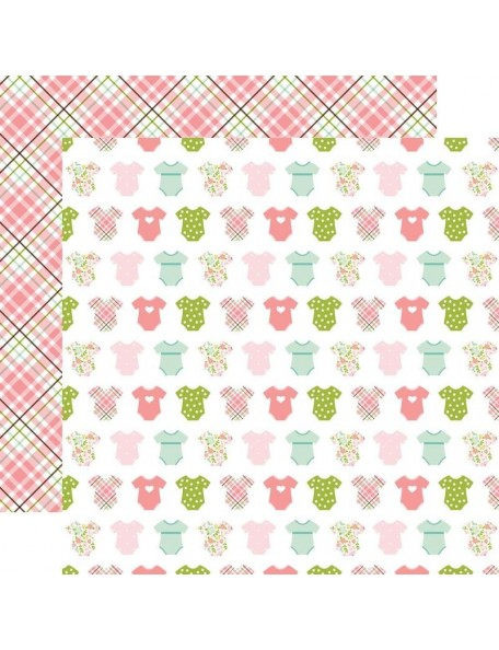 "Echo Park Sweet Baby Girl Cardstock de doble cara 12""X12"", Bundle Of Joy, Onesies/Pink Plaid"
