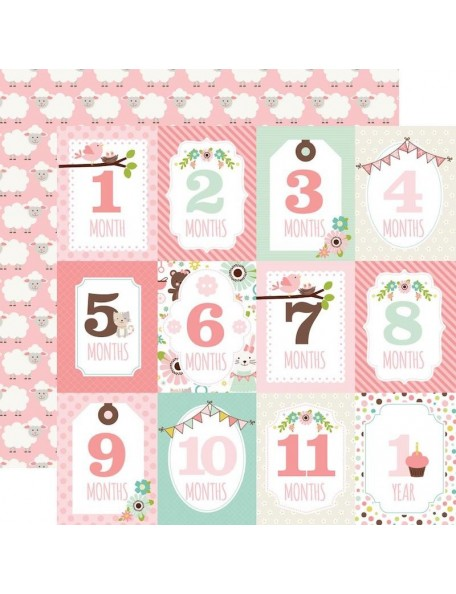"Echo Park Sweet Baby Girl Cardstock de doble cara 12""X12"", Month Cards/Sheep On Pink"
