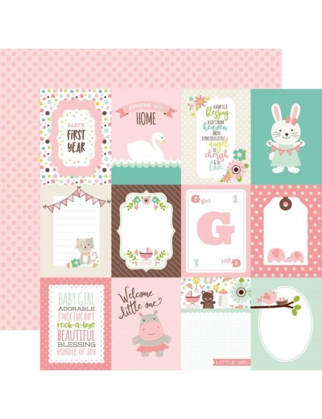 "Echo Park Sweet Baby Girl Cardstock de doble cara 12""X12"", Journal Cards 3X4 Pink Dots On Pink"