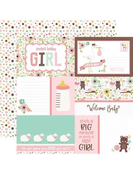 "Echo Park Sweet Baby Girl Cardstock de doble cara 12""X12"", Journaling Cards/Multi Dots"