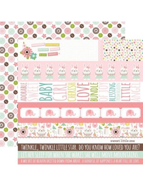 "Echo Park Sweet Baby Girl Cardstock de doble cara 12""X12"", Border Strips/Diagonal Flowers"
