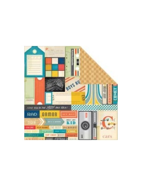 "Crate Paper - Boys Rule Cardstock de doble cara 12""X12"", Topscore"
