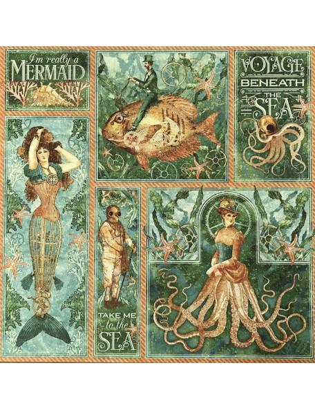 """Graphic 45 Voyage Beneath The Sea Cardstock de doble cara 12""""X12"""" Mermaid Meldoy"""