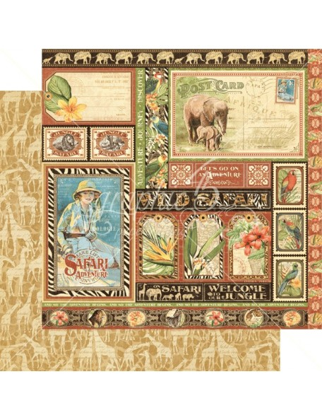 "Graphic 45 Safari Adventure Cardstock de doble cara 12""X12"" Amazing Africa"