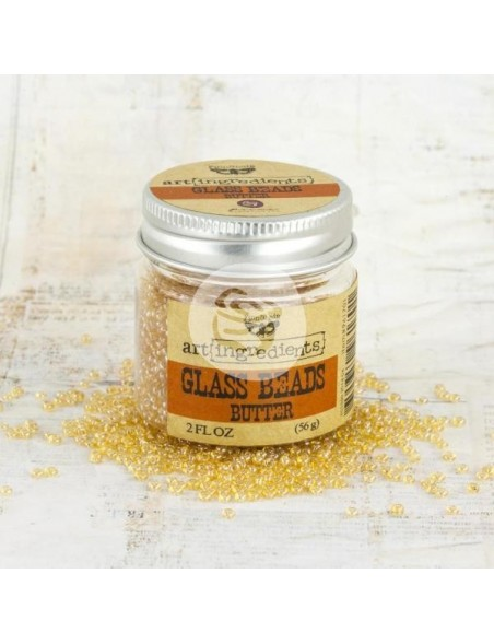 Prima Marketing Finnabair Art Ingredients Glass Beads 2oz, Butter
