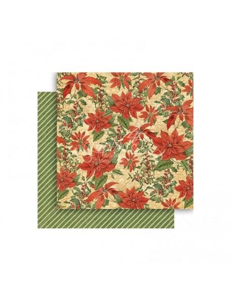 """Graphic 45 Winter Wonderland Cardstock de doble cara 12""""X12"""", Pretty Poinsettia"""
