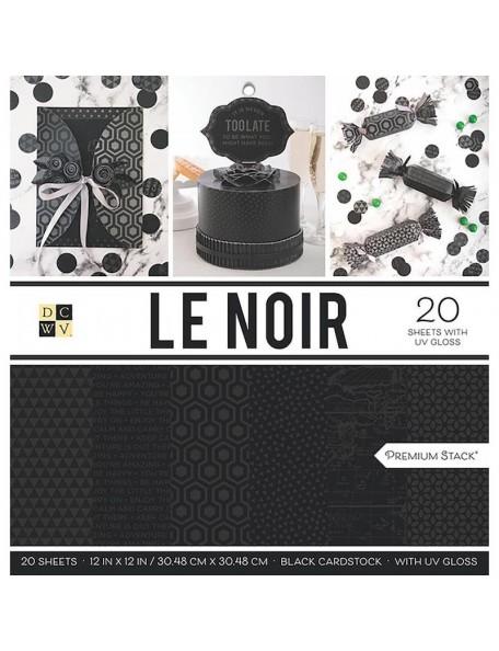 """DCWV Cardstock Stack Hoja de una cara 12""""X12"""" 20, Le Noir"""