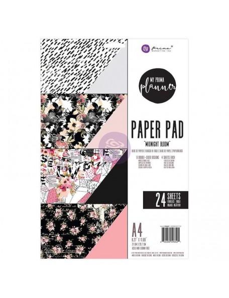 Prima Marketing My Prima Planner A4 Paper Pad 24, Hojas de doble cara, Midnight Bloom 6 Diseños/4