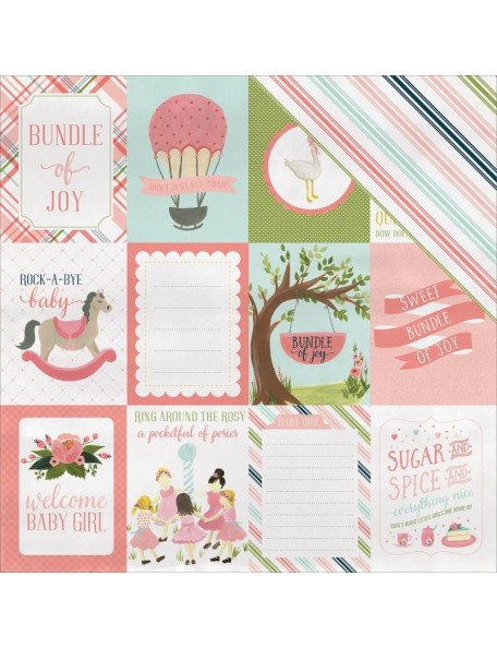 "Carta Bella Rock-A-Bye Baby Girl Cardstock de doble cara 12""X12"", 3""X4"" Journaling Cards"