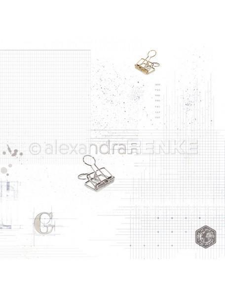 Alexandra Renke Cardstock de una cara 30,5x30,5 cm, Remaches con Dibujo/Klammern mit Muster