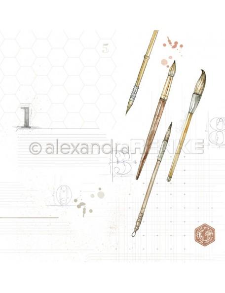 Alexandra Renke Cardstock de una cara 30,5x30,5 cm, Pincel con Muestra/Pinsel mit Muster