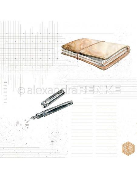 Alexandra Renke Cardstock de una cara 30,5x30,5 cm, Pluma y Libro/Feder und Buch mit Muster