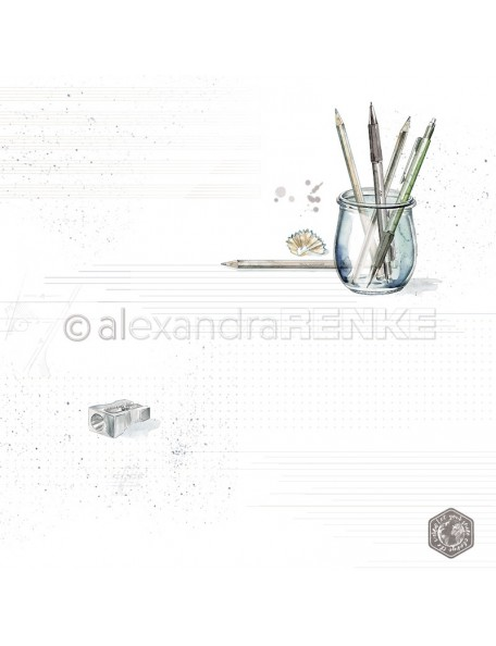 Alexandra Renke Cardstock de una cara 30,5x30,5 cm, Vaso con Lapices/Stifteglas mit Muster