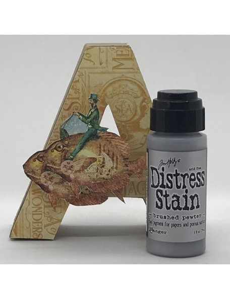 Tim Holtz Distress Stain, Brushed Pewter 1oz