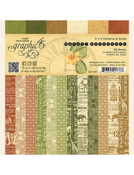 "Graphic 45 Double-Sided Paper Pad 6""X6"" 36, Safari Adventure Print/Solid, 12 Designs"