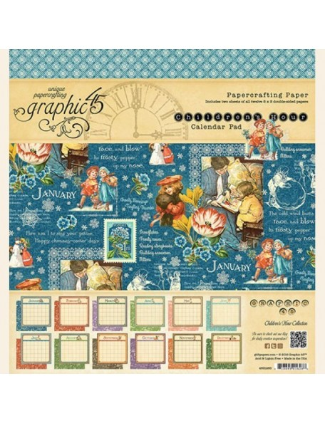 "Graphic 45 Calendario Pad cardstock de doble cara 8""X8"" 24, Children's Hour, 12 dibujos/2 de cada"