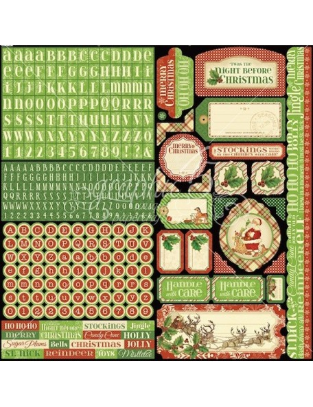 """Graphic 45 'Twas The Night Before Christmas Cardstock Sticker 12""""X12"""""""