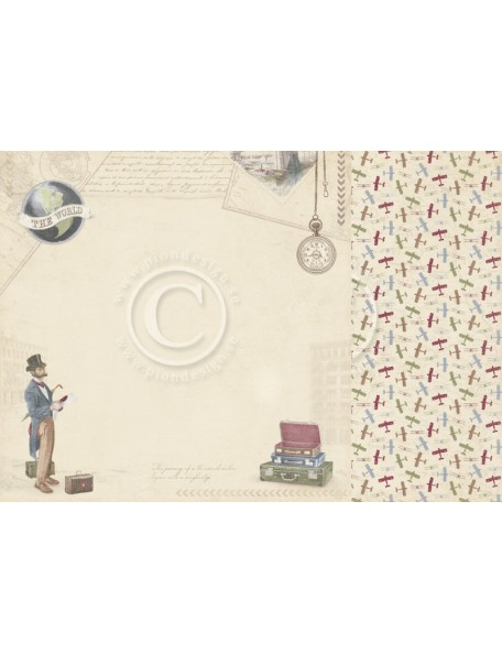 "Pion Design The World Awaits Cardstock de doble cara 12""x12"", Adventure awaits"