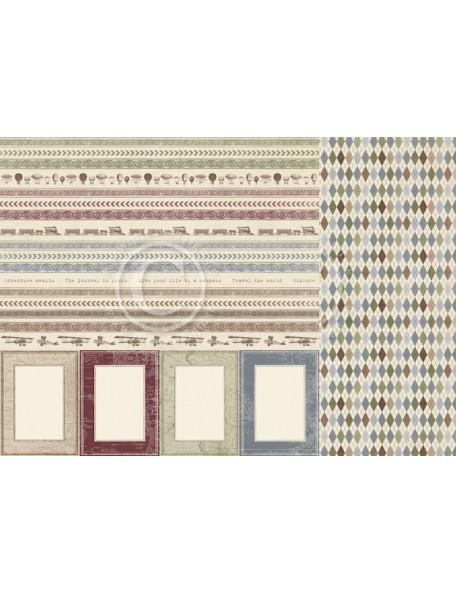 """Pion Design The World Awaits Cardstock de doble cara 12""""x12"""", Borders"""