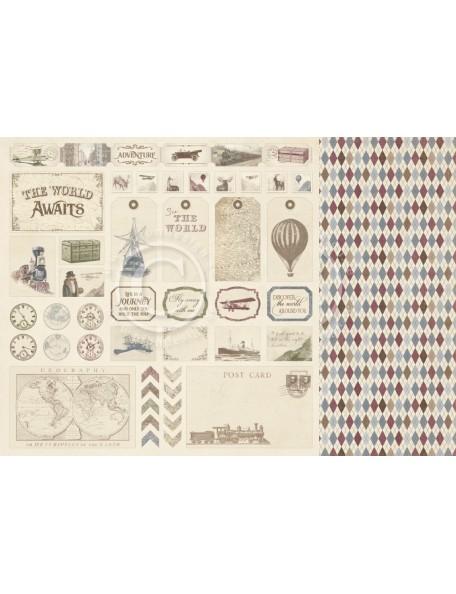 "Pion Design The World Awaits Cardstock de doble cara 12""x12"", Tags"