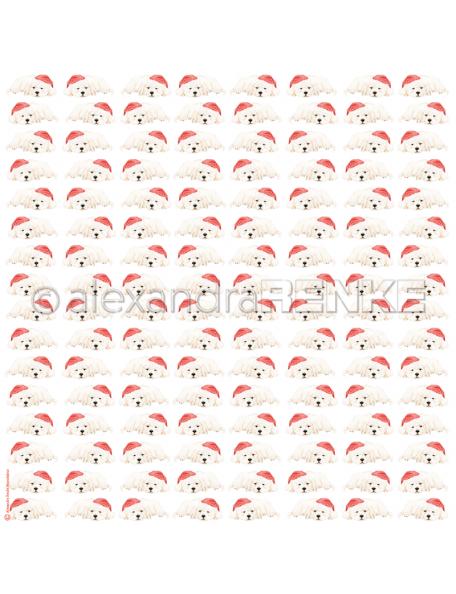 Alexandra Renke Cardstock de una cara 30,5x30,5 cm, Perritos Navideños/Weihnachtshund mit Mütze