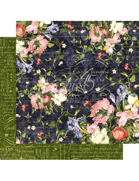 "Graphic 45 Floral Shoppe Cardstock de doble cara 12""X12"", Midnight Medley"