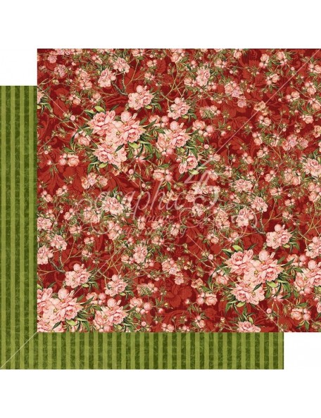 "Graphic 45 Floral Shoppe Cardstock de doble cara 12""X12"", Burgundy Blossoms"