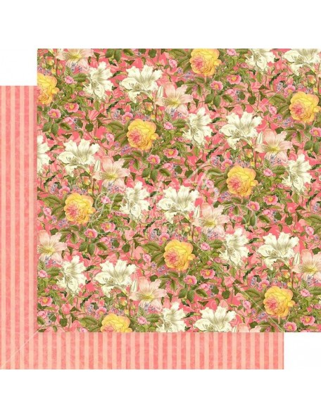 "Graphic 45 Floral Shoppe Cardstock de doble cara 12""X12"",Pink Lilies"
