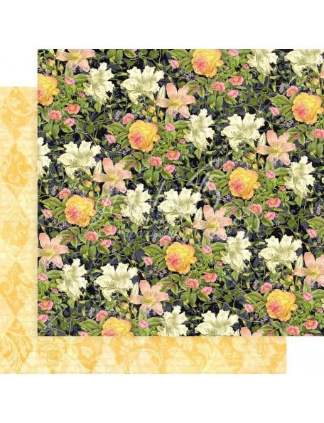 """Graphic 45 Floral Shoppe Cardstock de doble cara 12""""X12"""", Indigo Lilies"""