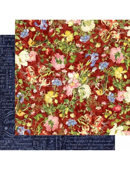 """Graphic 45 Floral Shoppe Double-Sided Cardstock 12""""X12"""", Scarlet Serenity"""