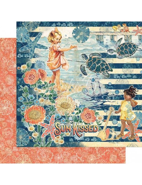 "Graphic 45 Sun Kissed Cardstock de doble cara 12""X12"", Sun Kissed"