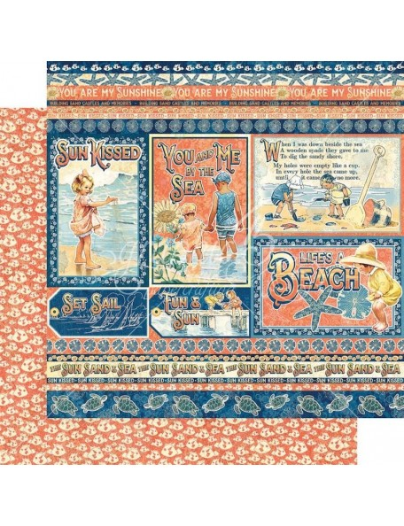 """Graphic 45 Sun Kissed Cardstock de doble cara 12""""X12"""", Kids At Play"""