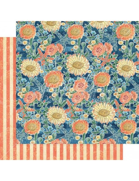 """Graphic 45 Sun Kissed Double-Sided Cardstock 12""""X12"""", Floating Floral"""