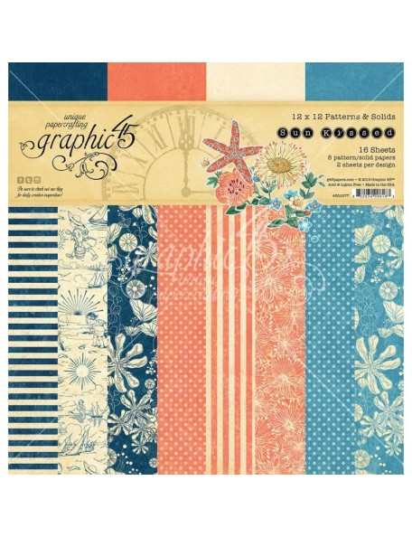 "Graphic 45 Sun Kissed Paper Pad Hojas de doble cara 12""X12"", Print/Solid, 8/2 Diseños 2"