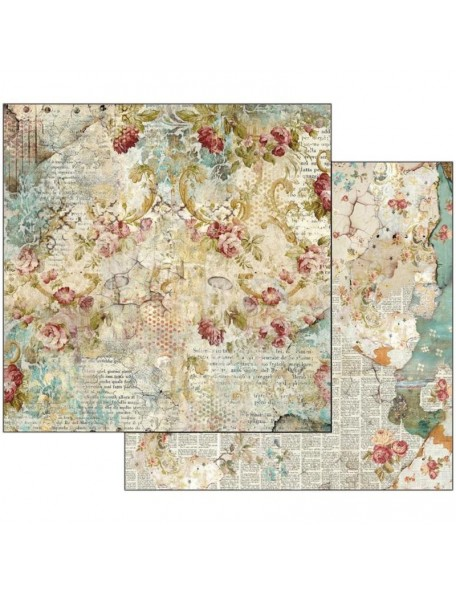 "Stamperia Double-Sided Cardstock 12""X12""-Time Is An Illusion Floral Texture"