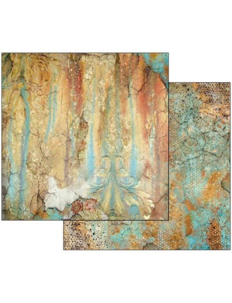 """Stamperia Double-Sided Cardstock 12""""X12""""-Time Is An Illusion Rust Effect"""