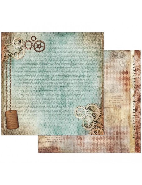 """Stamperia Time Is An Illusion Cardstock de doble cara 12""""X12"""", Clockwise Mechanism"""