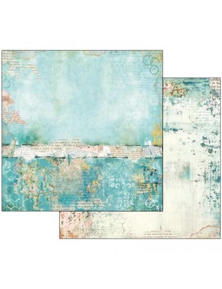 "Stamperia Wonderland Cardstock de doble cara 12""X12"",Turquoise Texture"
