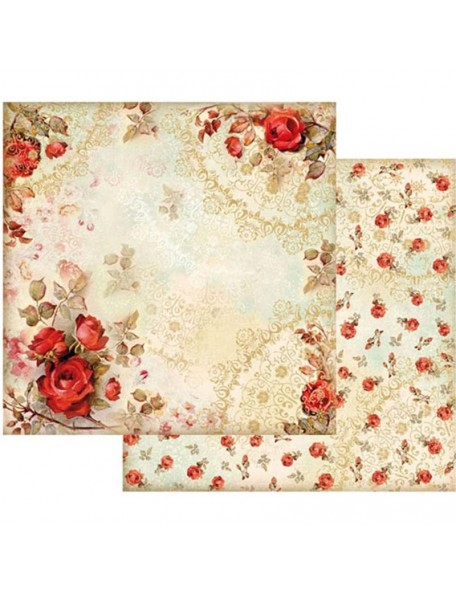 "Stamperia Cardstock de doble cara 12""X12"", Red Roses"