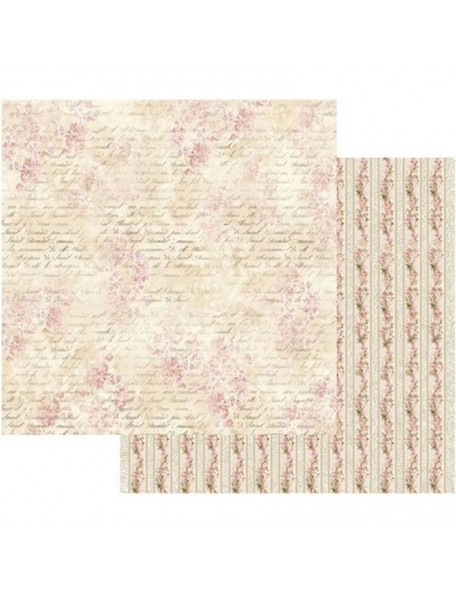 "Stamperia Cardstock de doble cara 12""X12"", Pink Buttercup With Writing"