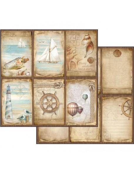 "Stamperia Sea Land Cardstock de doble cara 12""X12"", Cards"