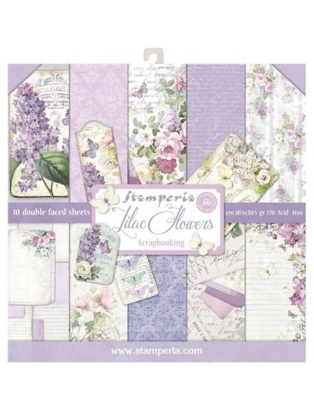 "Stamperia Paper Pad de doble cara 12""X12"", Lilac, 10 Diseños/1 de cada"