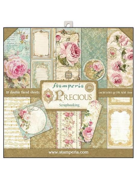 "Stamperia Paper Pad de doble cara 12""X12"", Precious Gift, 10 Diseños/1 de cada"
